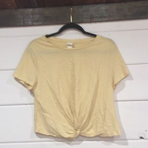 Yellow front knot t shirt